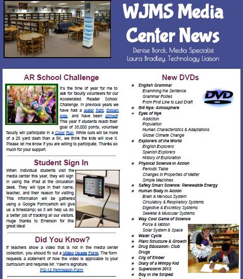WJMS Media Center Newletter