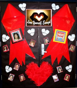 red ribbon door